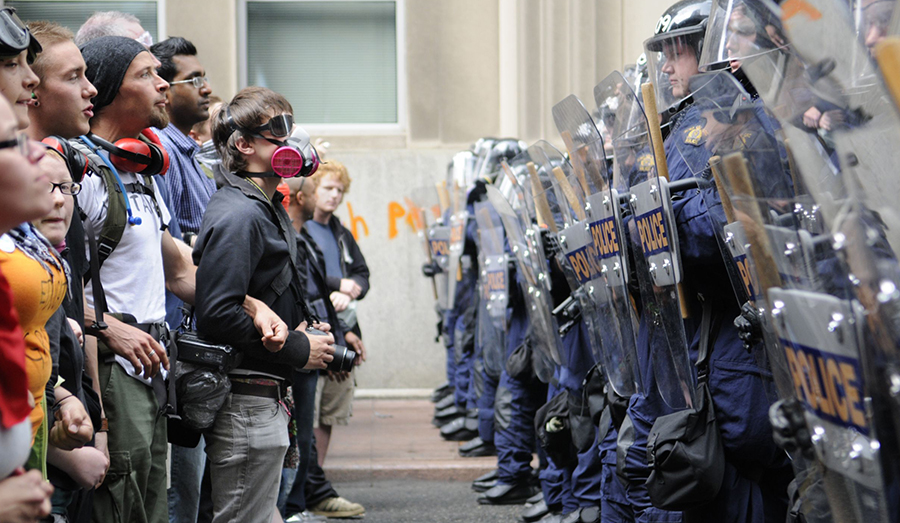 Rioters and police