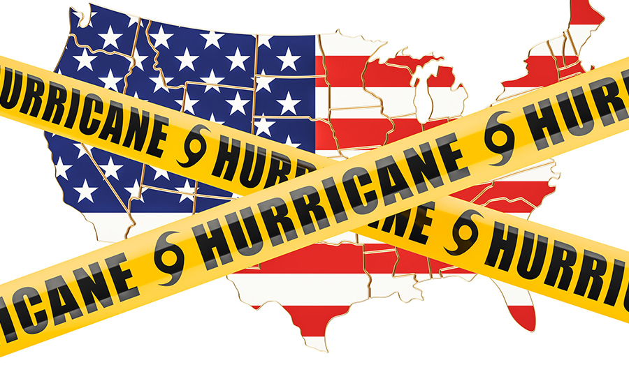 Hurricane banner over the US