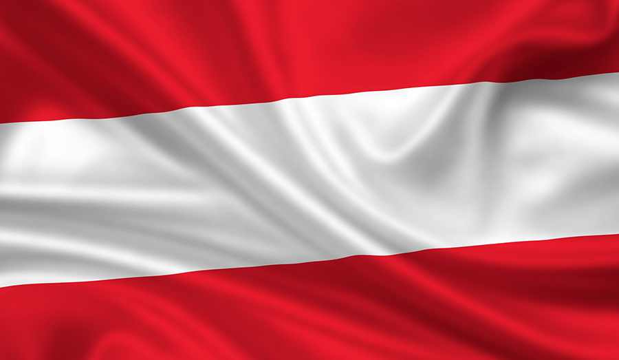 Austrian flag waving