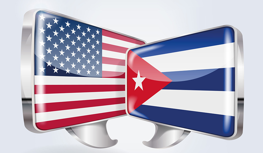 US & Cuban Flags