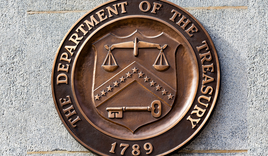 Department of the Treasury sign