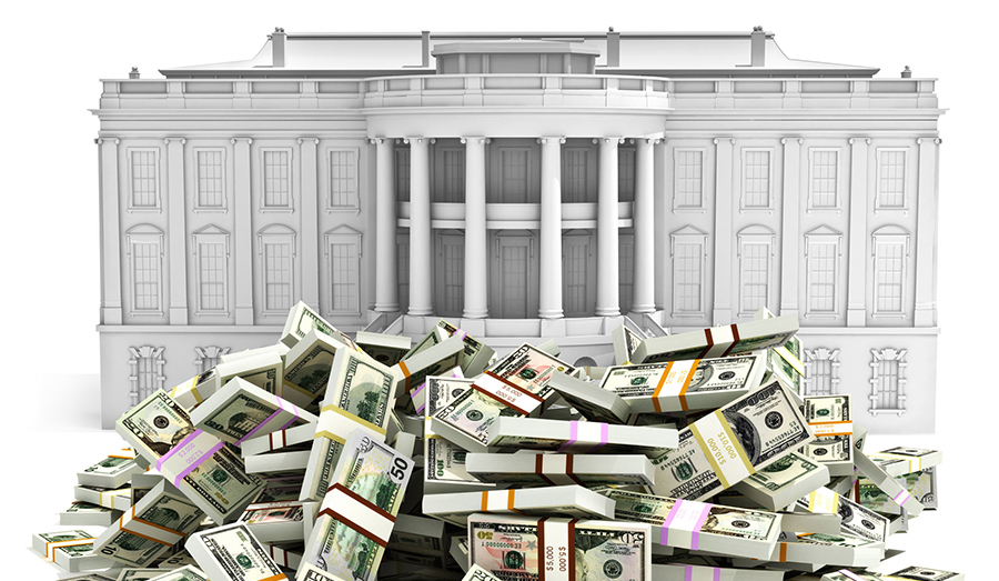 white house with dollars