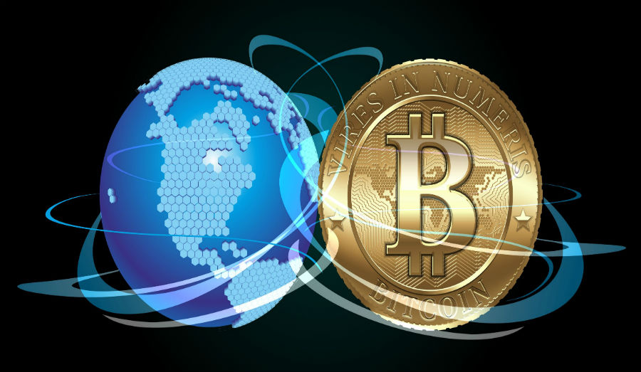 Cryptocurrency coin with digital world