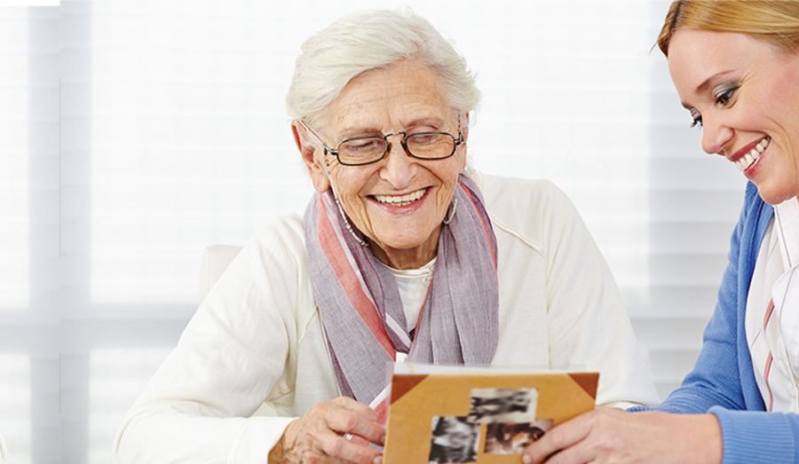 grandma looking at photos
