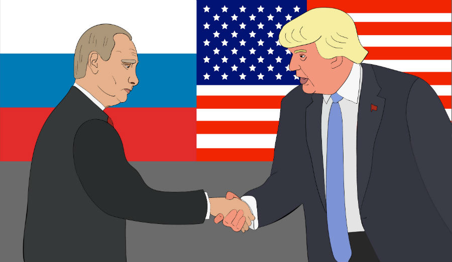 Putin Trump shaking hands in front of flags