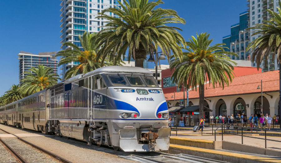 SEPTEMBER 9, 2016: Amtrak train arriving at Santa Fe Depot in downtown San Diego.