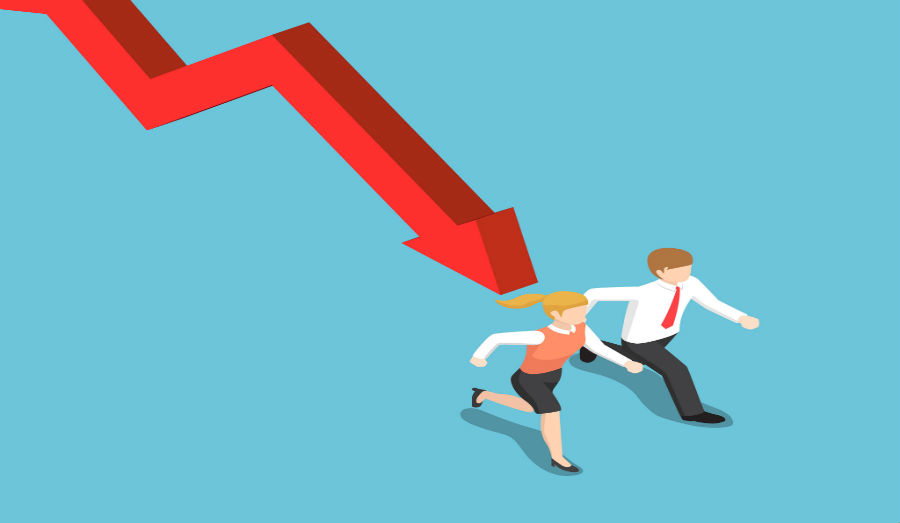 economy crashing on two people