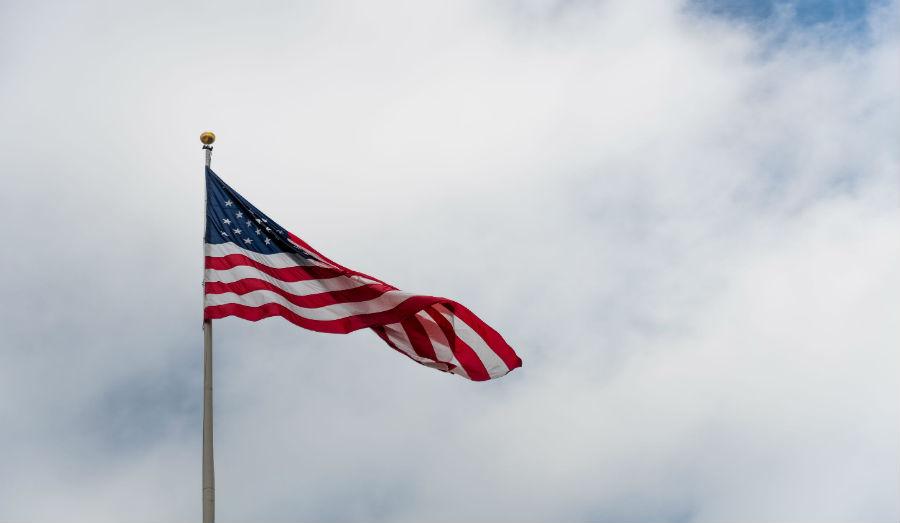 American Flag waving around
