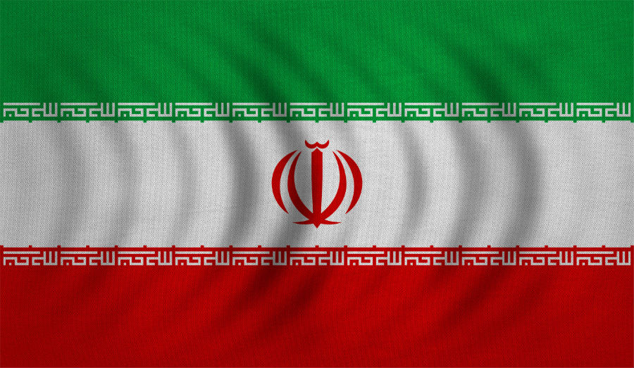 Iranian national official flag. Islamic Republic of Iran patriotic symbol, banner, element, background. Correct colors. Flag of Iran wavy with real detailed fabric texture, accurate size, illustration