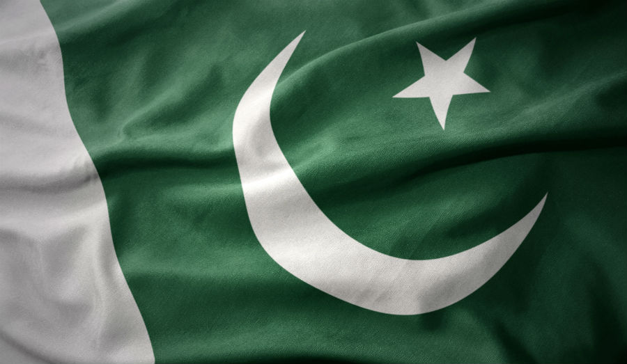 waving colorful national flag of pakistan.
