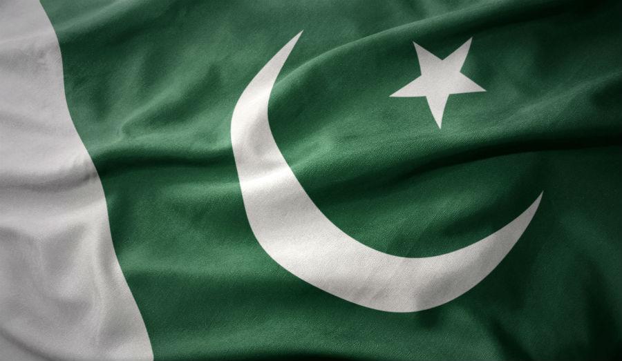 waving colorful national flag of pakistan.