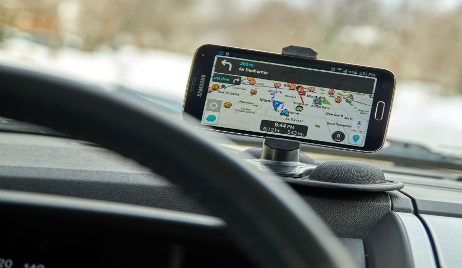 Waze app open in car window with navigation