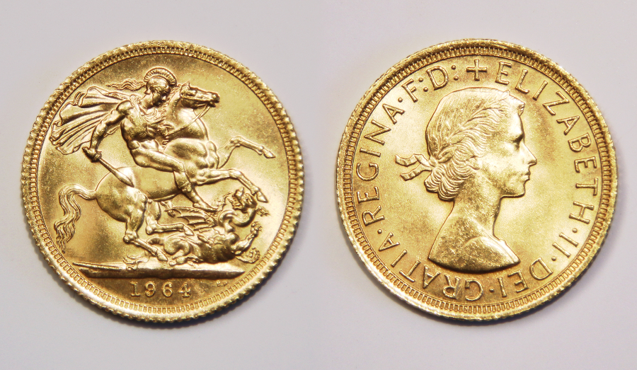 Queen Elizabeth II gold sovereign coin