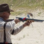 The Winchester 1897 shotgun in action