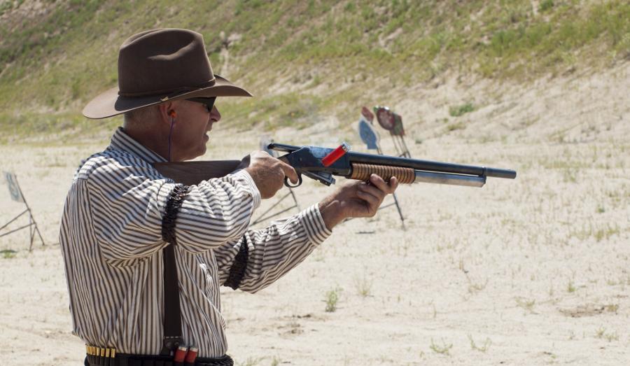 The Winchester 1897 shotgun in action