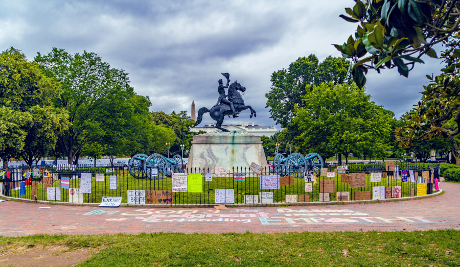 Andrew Jackson statue before protesters tried to pull it down